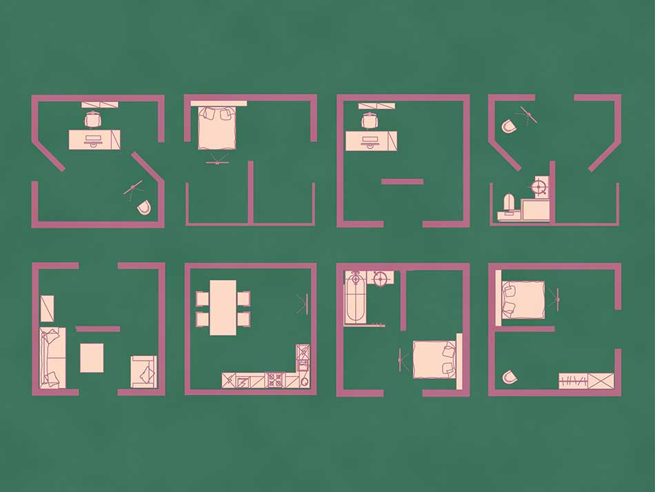 8 room layouts with green background