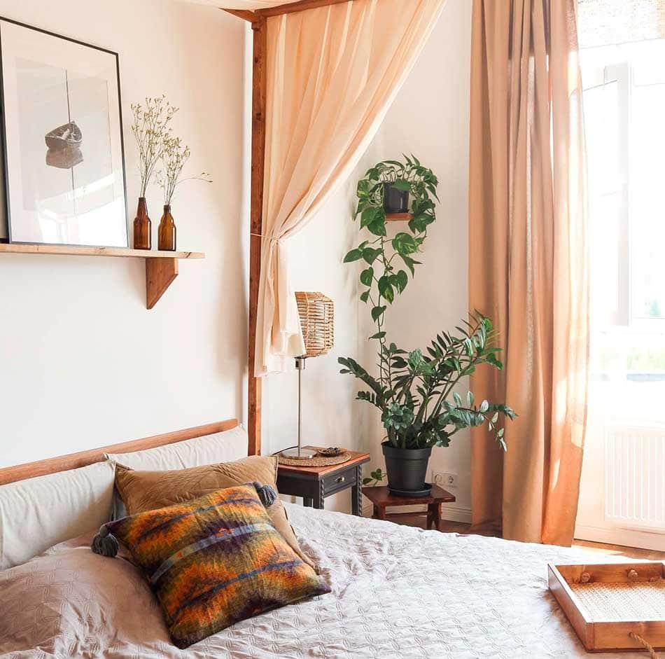 bedroom corner view with plants