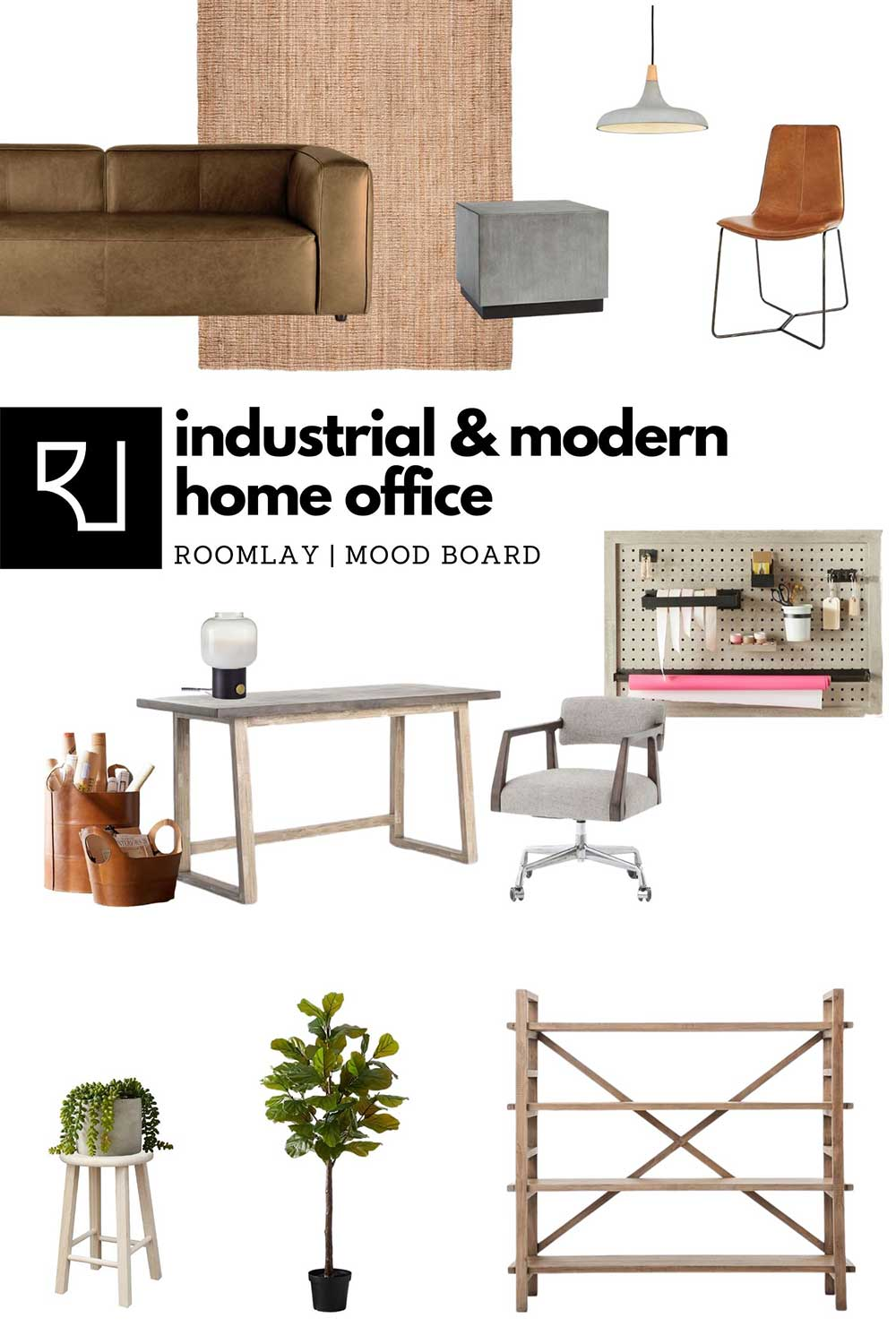 industrial style home office furniture mood board