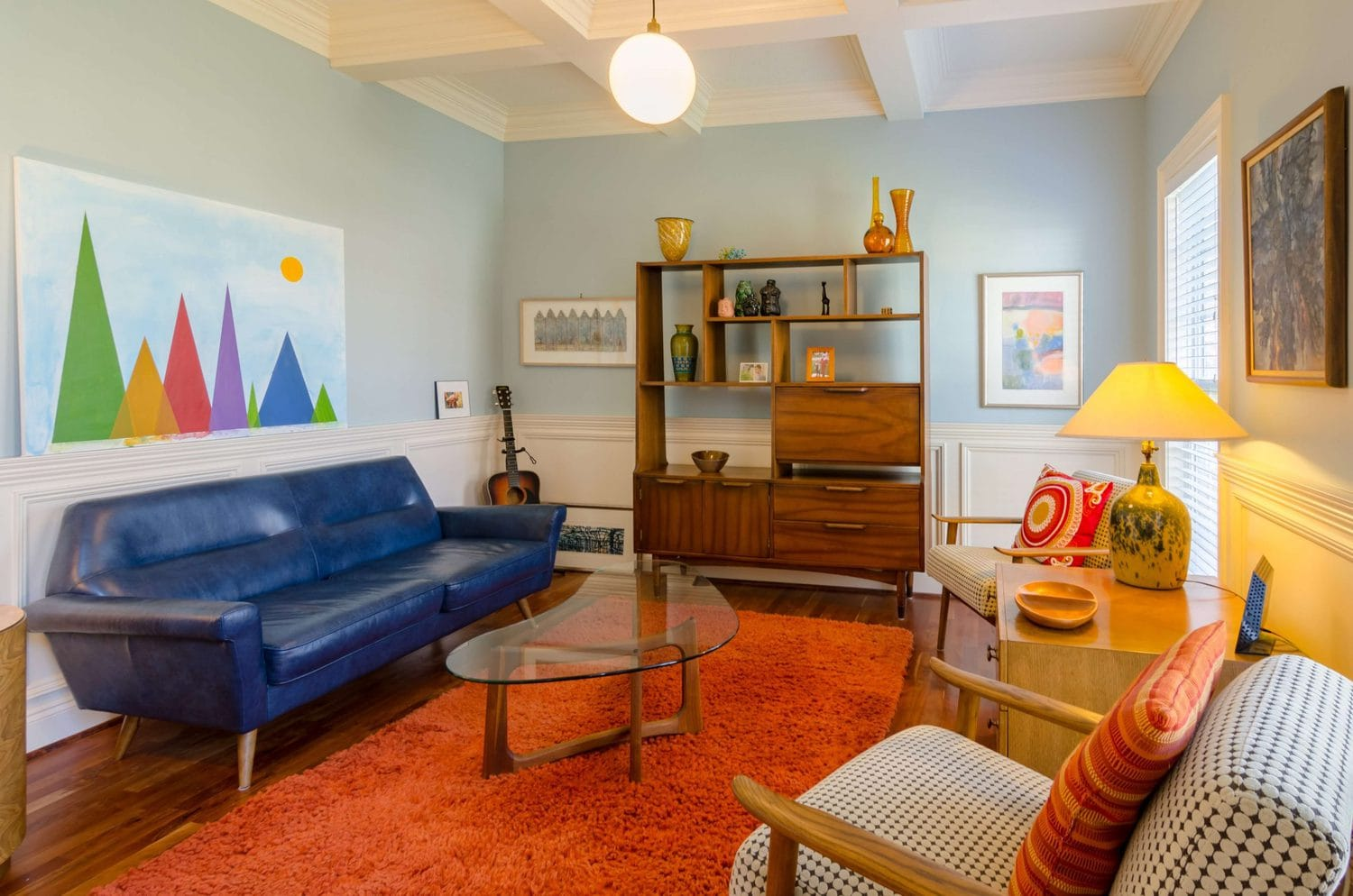 mid-century modern living room furniture, sofa and armchair samples