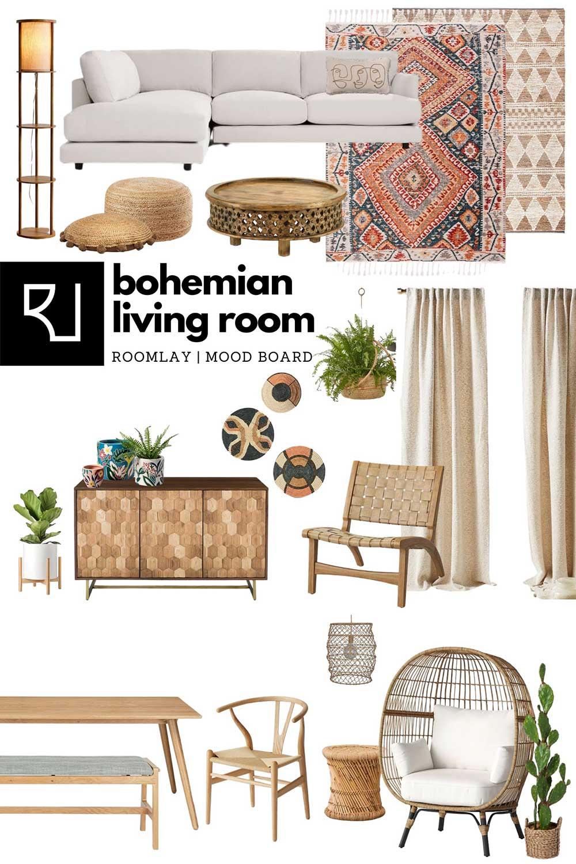 boho living room furniture concept board