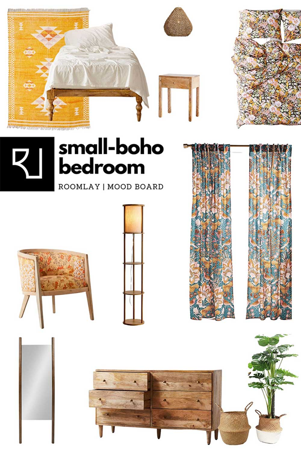 small boho bedroom furniture mood board with layout