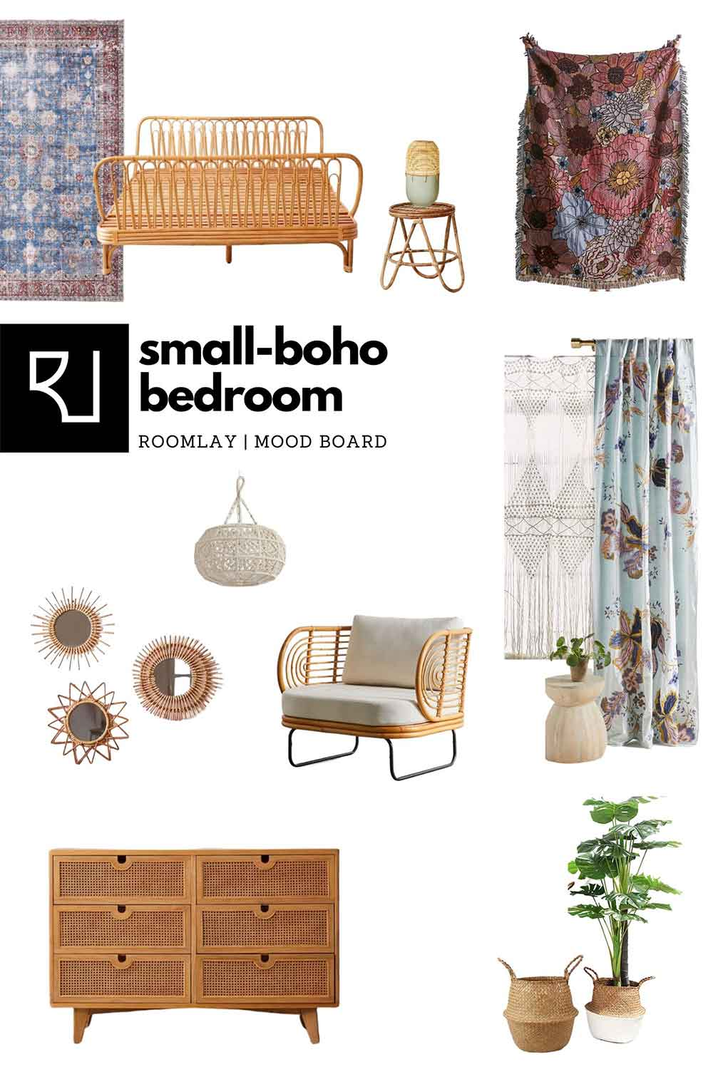 bohemian furniture mood board for small bedroom layout