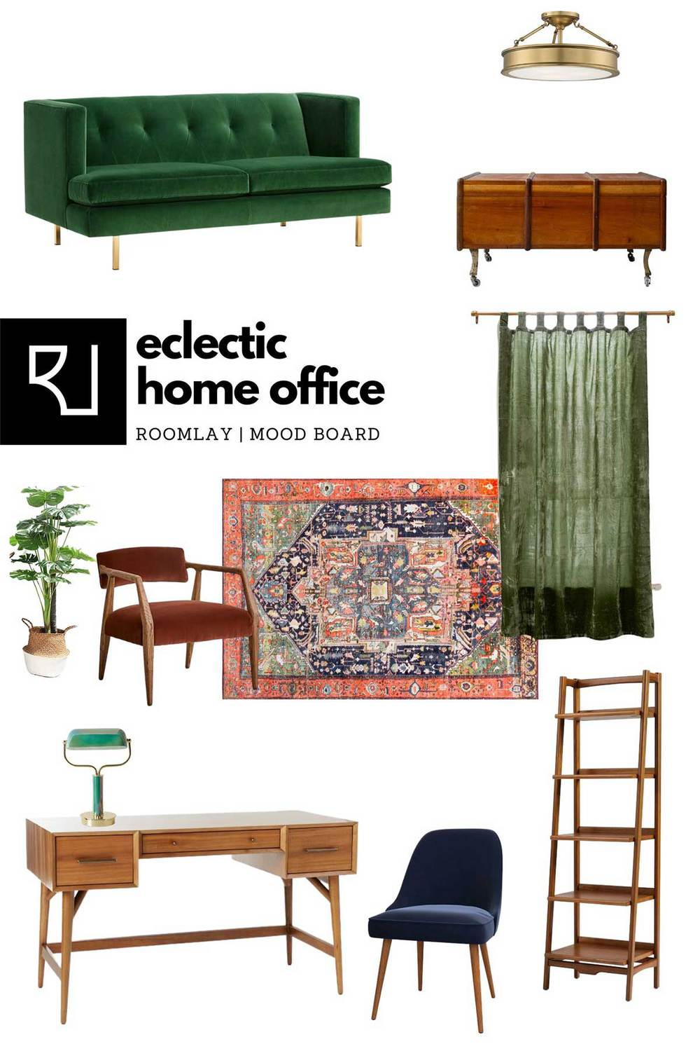 eclectic home office furniture mood board