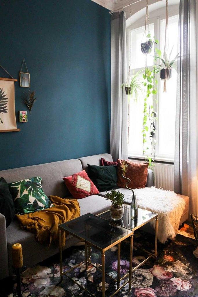 eclectic modern living room corner