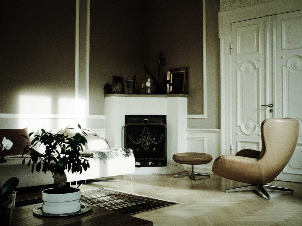 large living room with corner fireplace