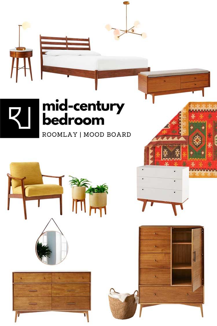 mid-century modern bedroom furniture mood board
