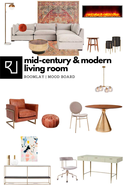 mid-century modern living room furniture mood board