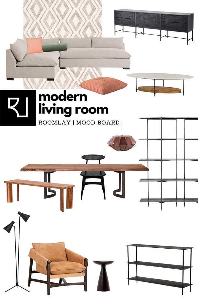 modern living room furniture mood board