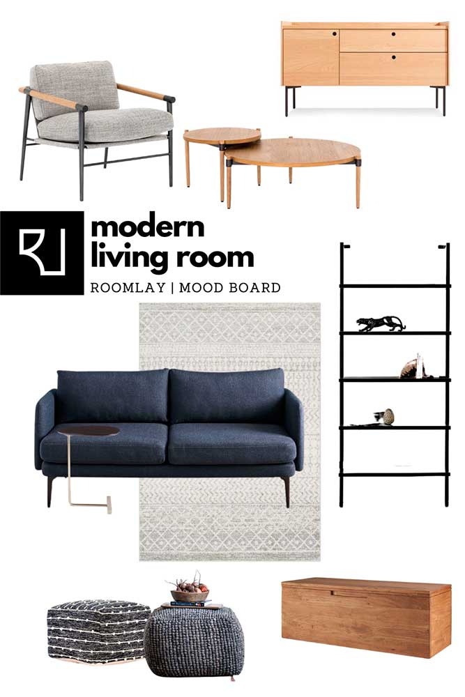 small modern living room furniture such as sofa, coffee table, bookcase.