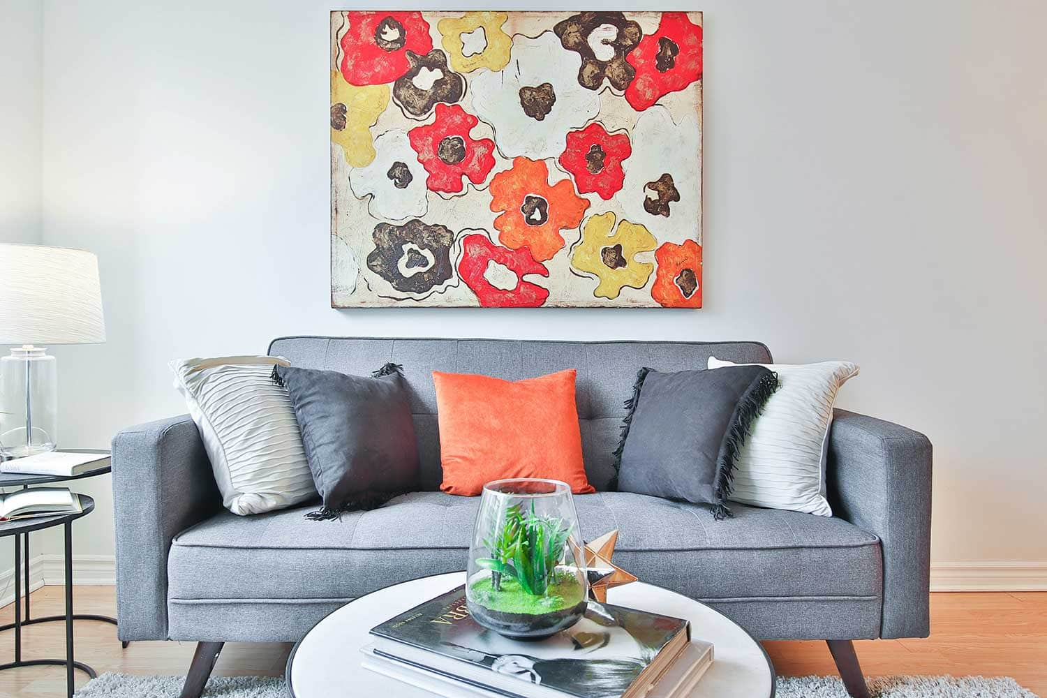 Modern couch for feng shui living room.