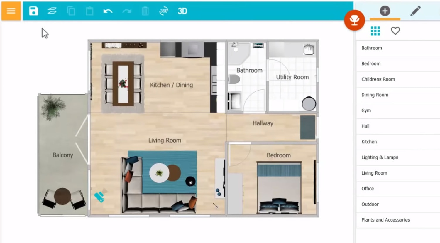 online room layout tool interface