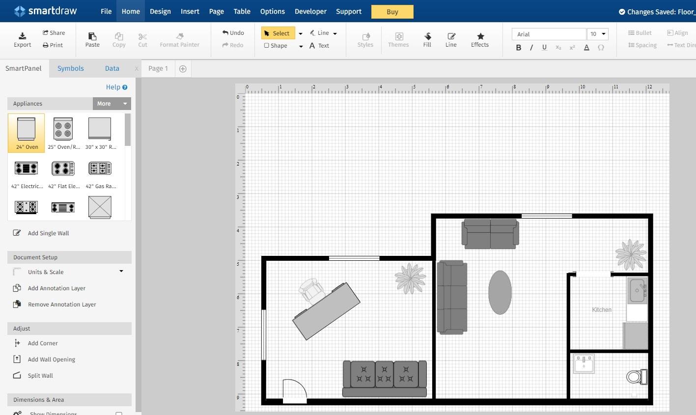 SmartDraw online floor plan create software