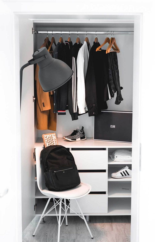 Bedroom vertical storage for small bedroom