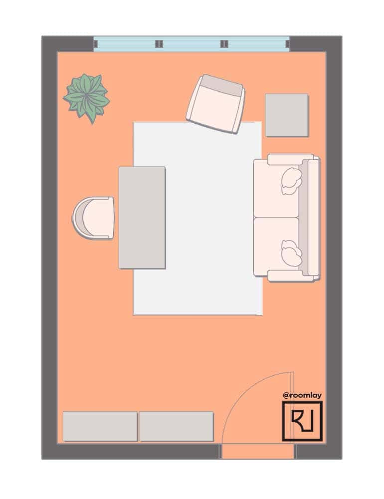 Rectangular 12'×16' home office layout
