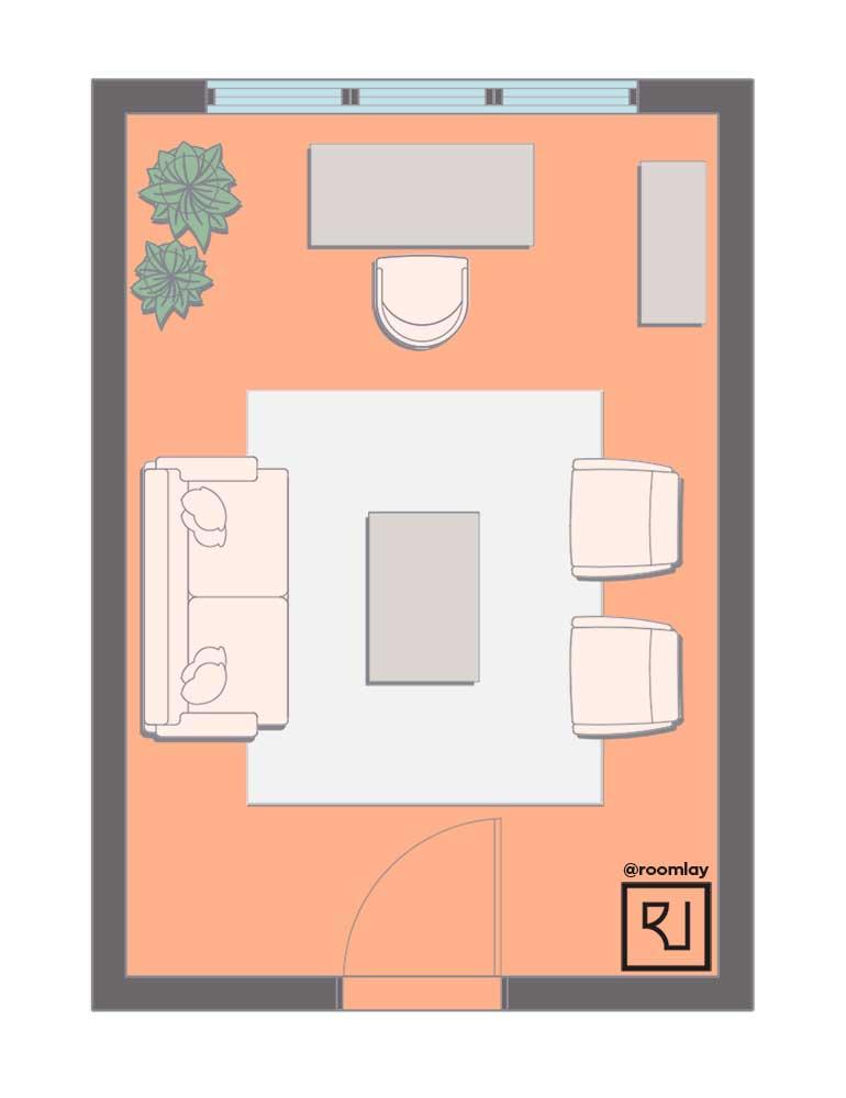 Rectangular open home office furniture layout