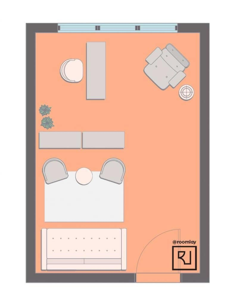 home office layout with sofa