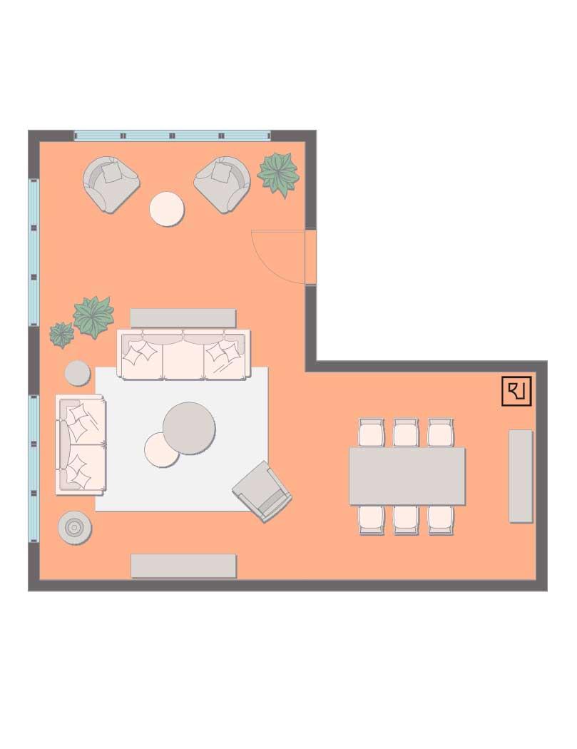 L-shaped living room dining room floor plan