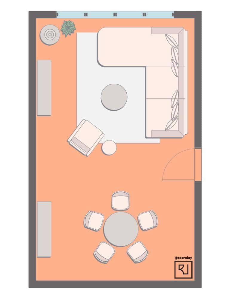 floor plan with L-shaped sofa.