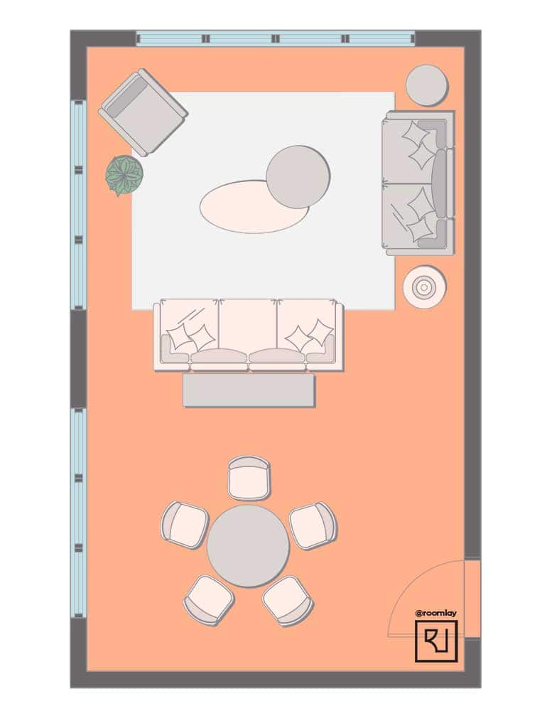 dining table in living room plan without TV.