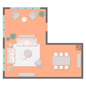 large living room plan  with TV and dining table