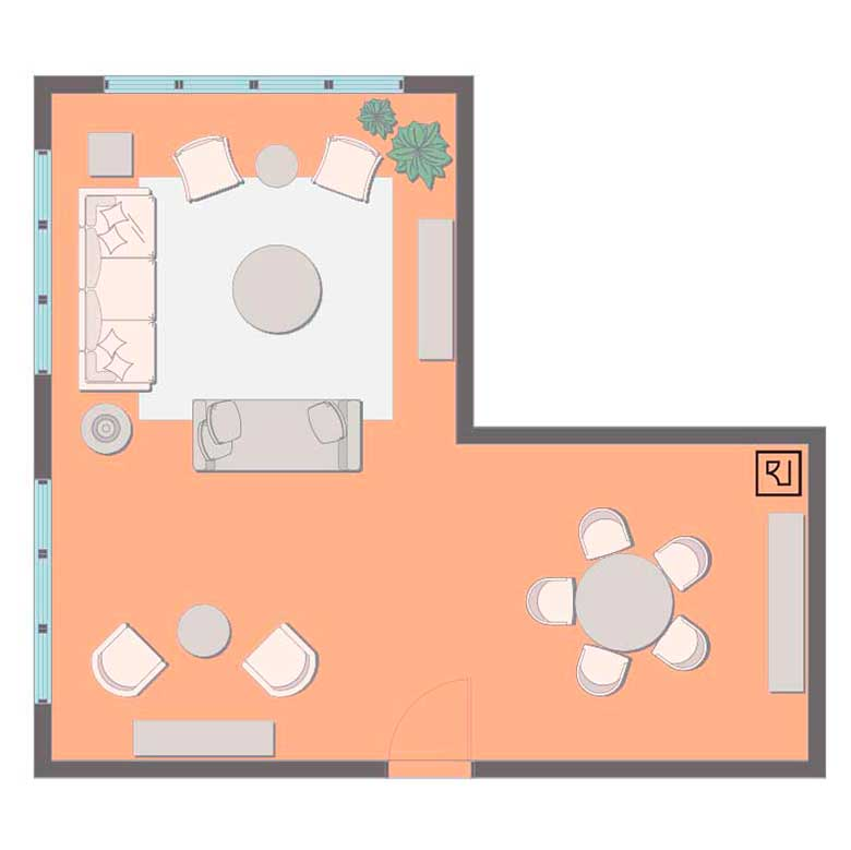Open L-shaped living room layout