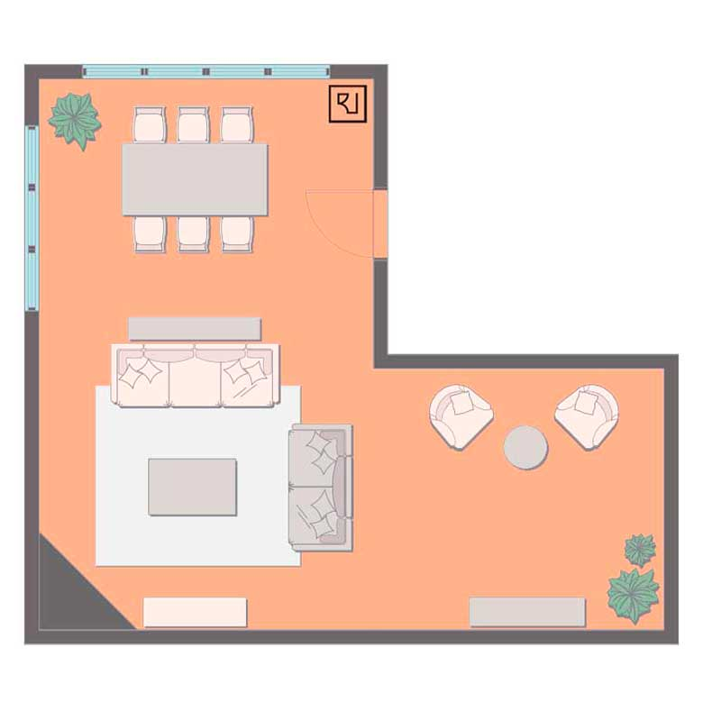 L-shaped living room floor plan with corner fireplace.