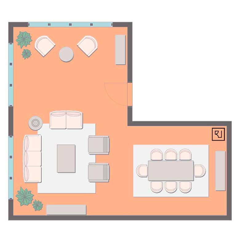 L-shaped living room floor plan with dining and seating area.