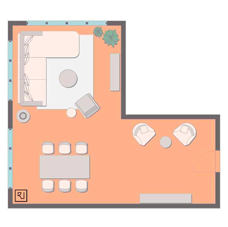 L-shaped living room layout with sectional sofa.