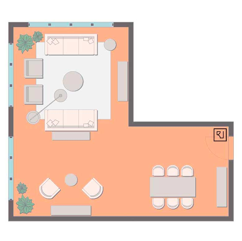 L-shaped living room layout with TV.
