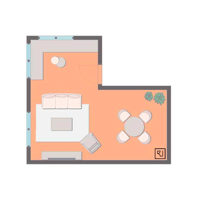 Small l-shaped living room layout with corner bench