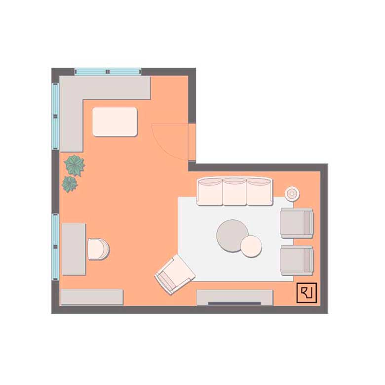 small l shaped living room floor plan with a small dining area