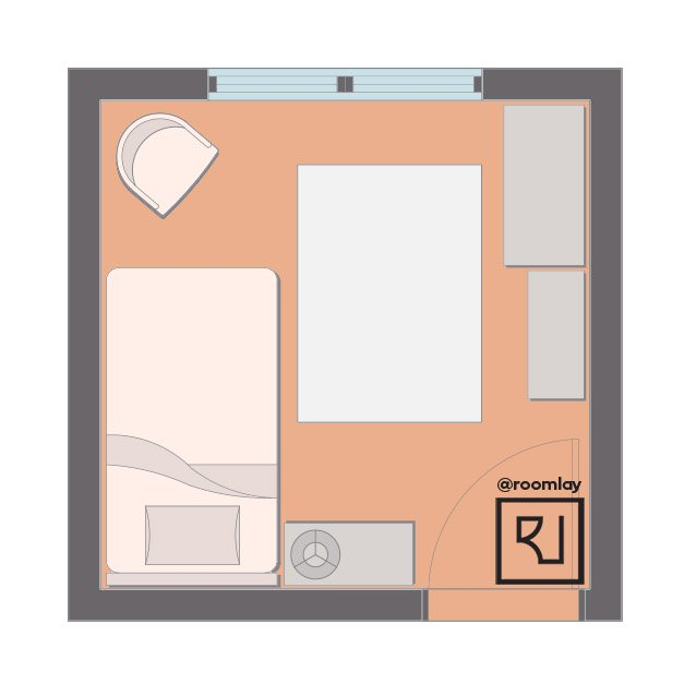 10 by 10 room with twin bed floor plan sample.