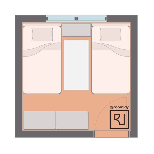 Tiny bedroom with two twin beds.