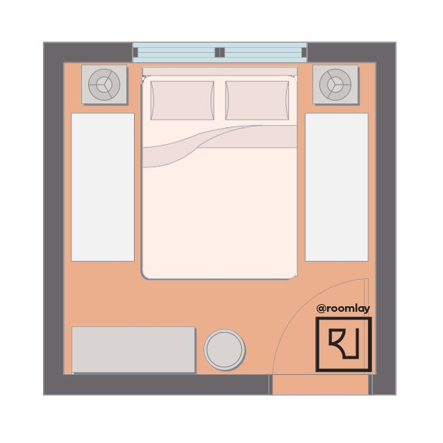 small bedroom floor plan with queen sized bed
