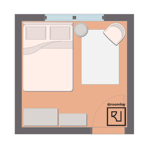 10ft by 10ft bedroom floor plan with full size bed.