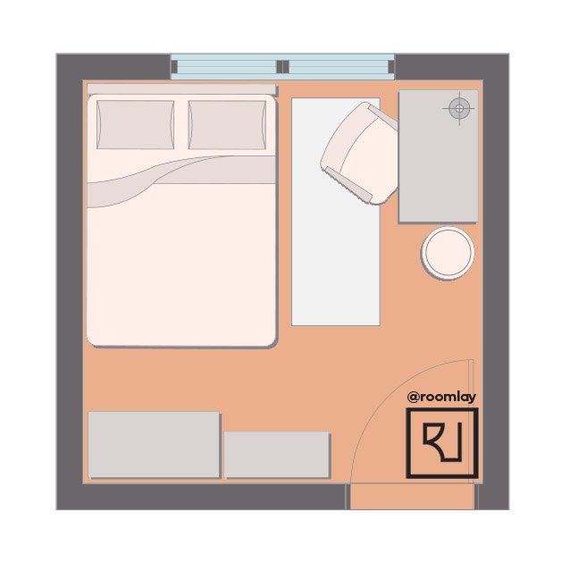 Bedroom plan with desk.