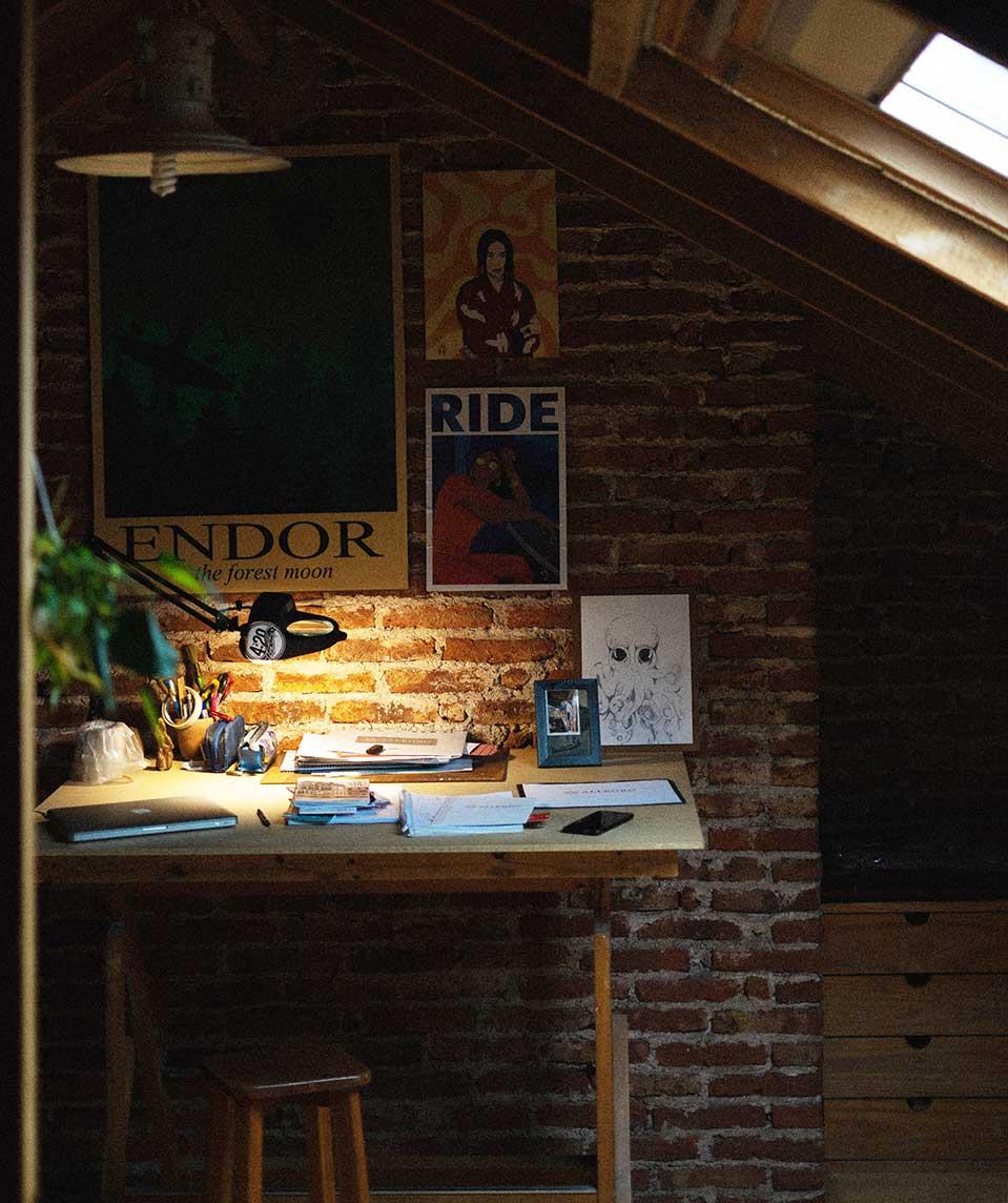 Attic home office setup idea