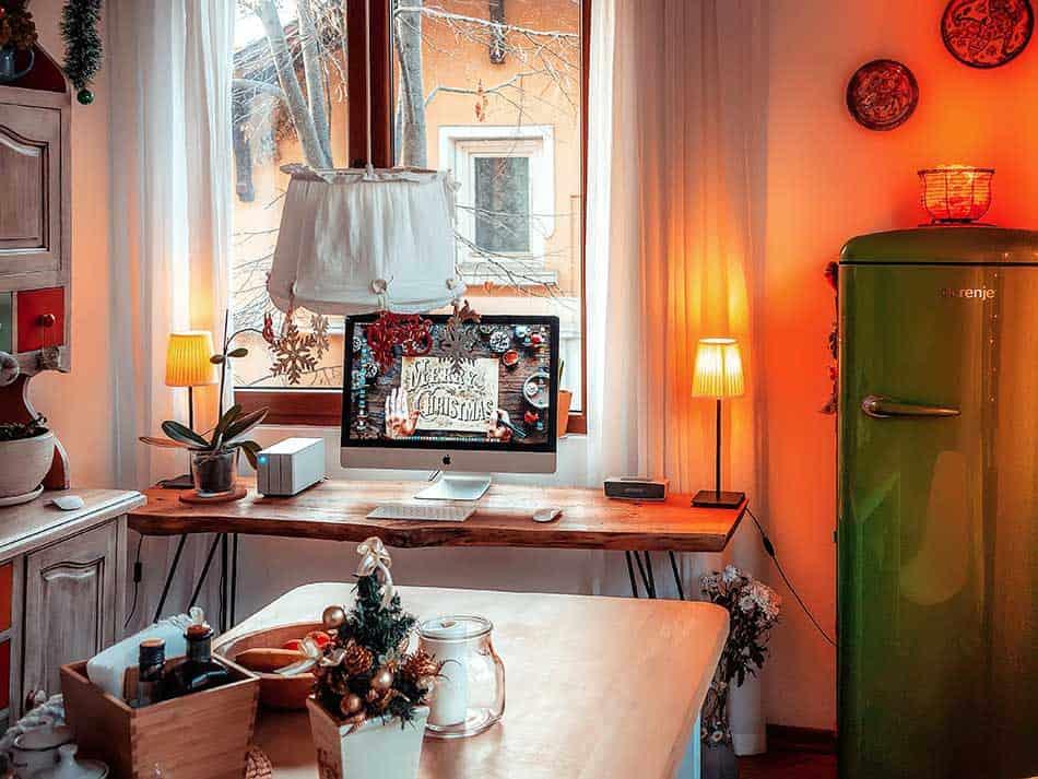 Working desk in the kitchen.