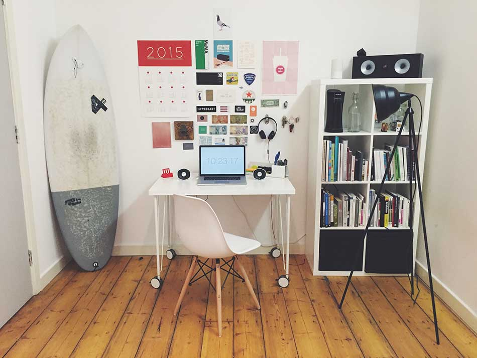 home office decor with calendar and posters.