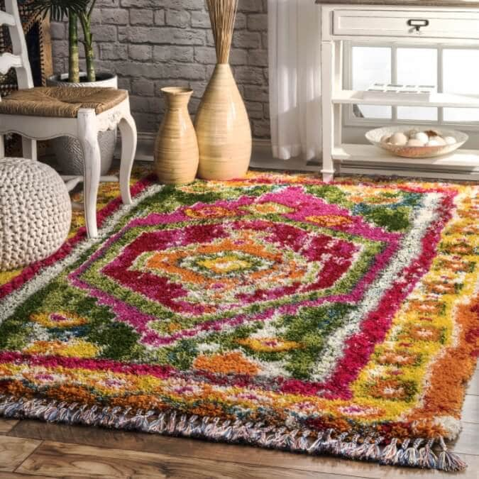 shag area colorful carpet