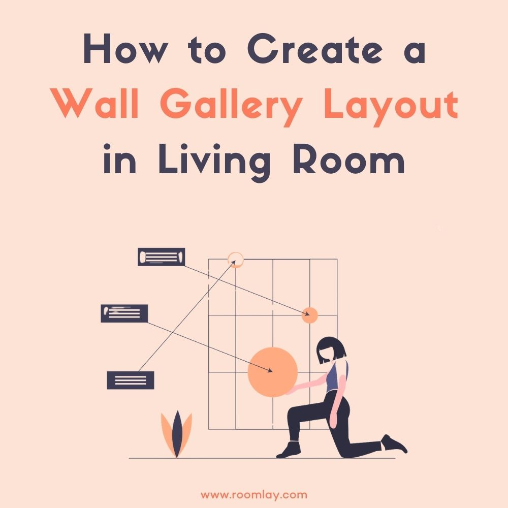 Illustration of creating living room wall gallery.