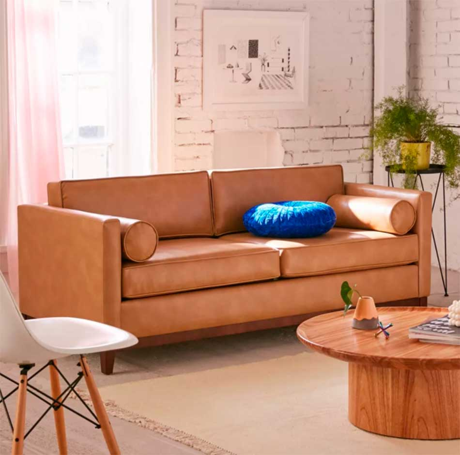 Boho recycled leather couch