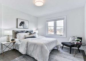 Feng shui bedroom layout with white wall and bed color