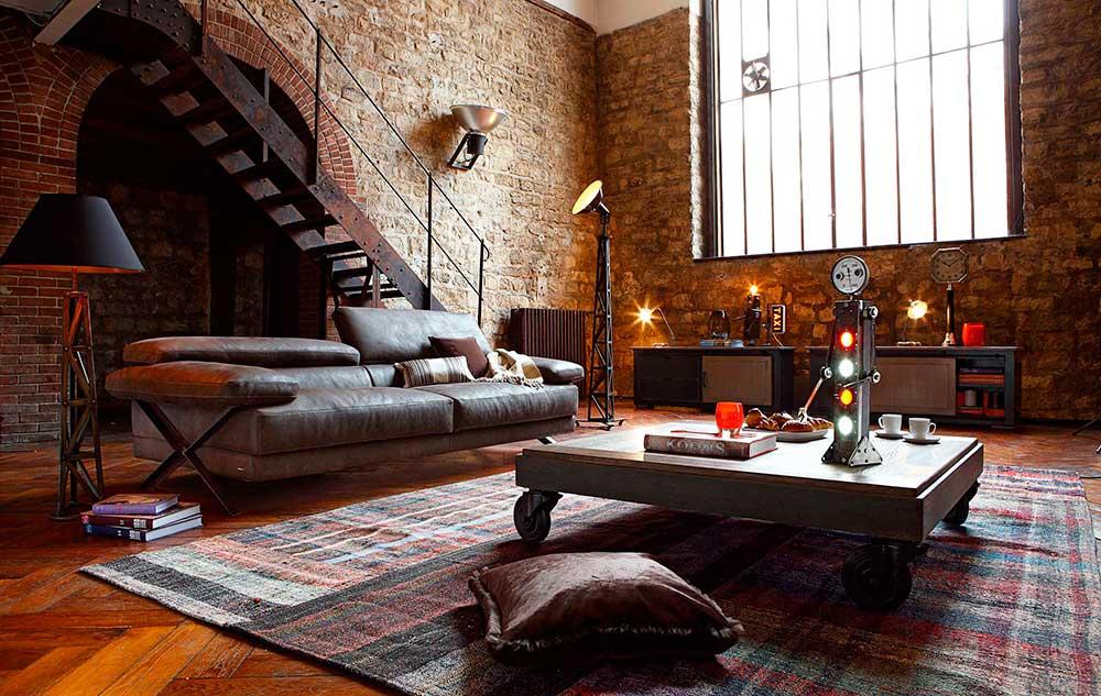 Industrial interior design style living room.