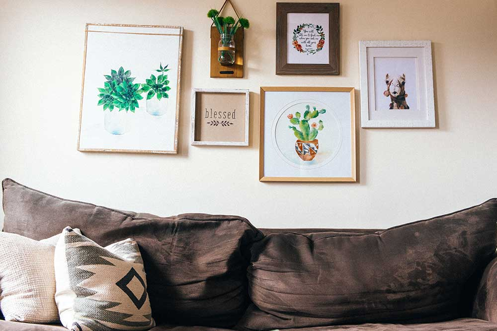 Wall gallery layout sample above the couch.