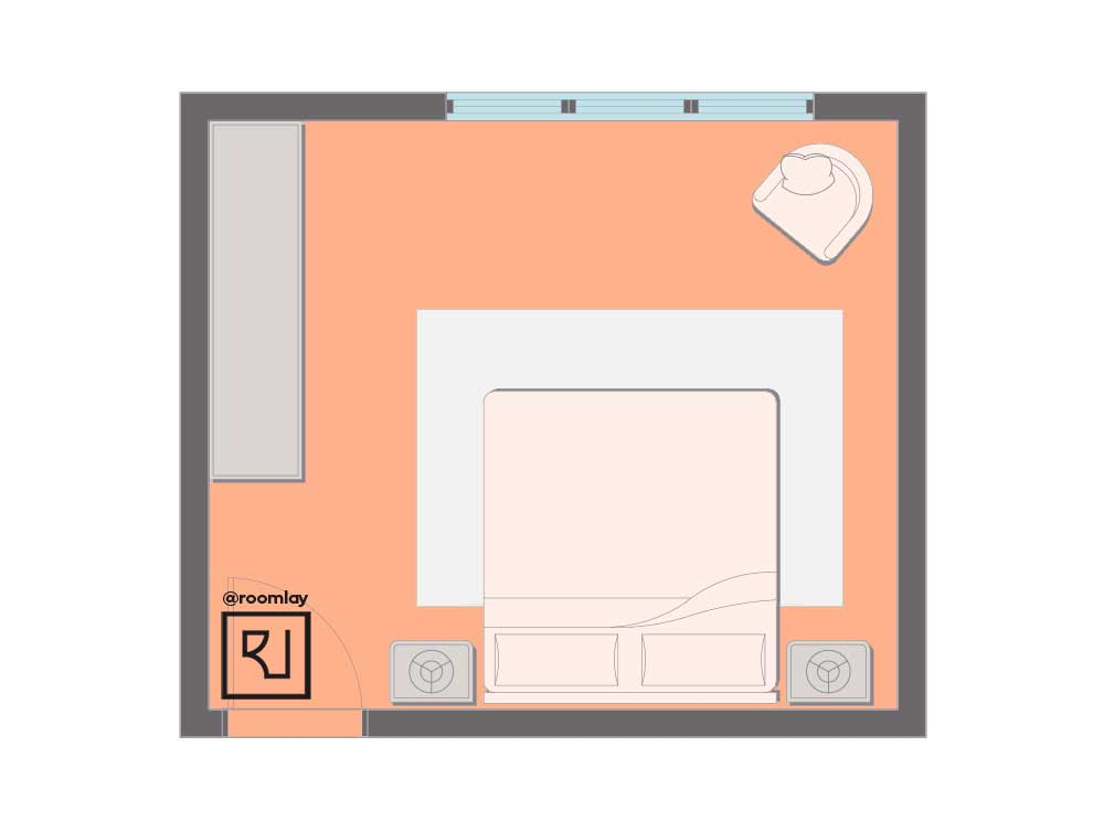 Bed on same wall as the door layout.