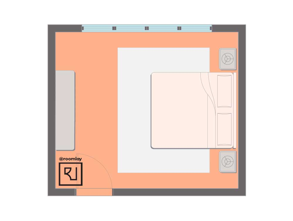 Centered bed placement layout.