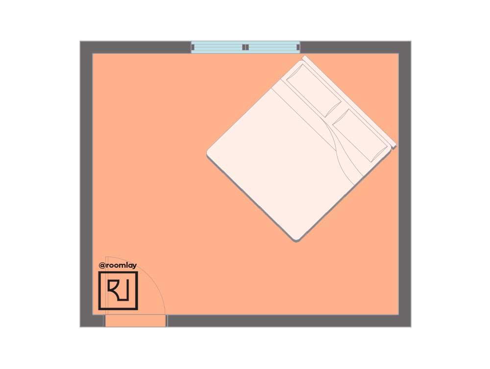 Diagonal bed placement plan.