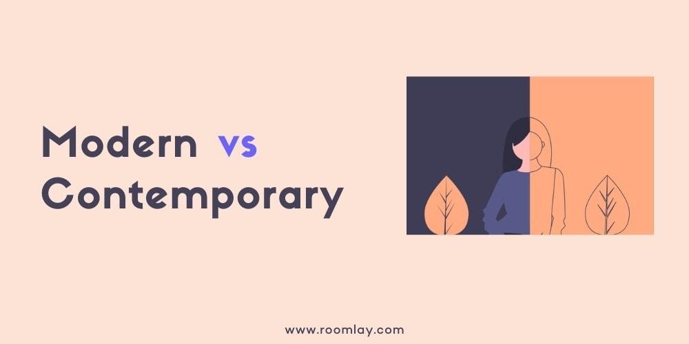 """""""Contemporary vs. modern interior design"""" graphic."""